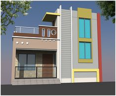 Single Floor House Design, House Front Design, 2bhk House Plan, Asian House, House Elevation, 3d, Mansions, House Styles, Home Decor