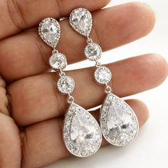Wedding Jewelry Bridal Earrings Long Wedding by poetryjewelry, $60.00