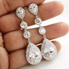 Wedding Jewelry Bridal Earrings Long Wedding Earrings Silver Cubic Zirconia Posts with Large Pear Cut Cubic Zirconia Drops