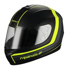 Full Face Matte Black/Neon Yellow Street Bike Motorcycle Helmet by Triangle [DOT] (Large). Full Face Helmet. DOT Approved. Advanced ABS shell with high pressure thermoplastic technology. Multi Density EPS liner. Ventilation system with top and rear extractors liner. Fully removable, washable and anti-bacterial interior liner.