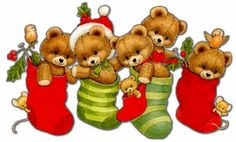 Teddy bears in stockings
