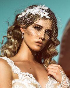 Wedding veil - birdcage veil with crystal edge - Harlow – KEZANI JEWELLERY - designer bridal jewellery and wedding accessories