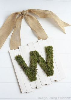 Moss Monogram Door Sign For Spring.  Um, I think I am legally required to make this, considering our last name.  Been looking for some mossy ideas for decor!