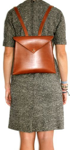 Leather backpack/rucksack brown small  handmade by econiccurrumbin