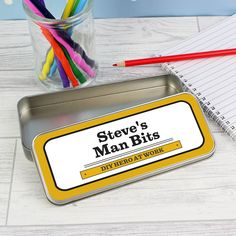 This Man At Work Pencil Tin with Crayons is an ideal gift for any DIY Superhero!