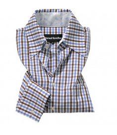 Trachten-Hemd tailiert blau/braun Karo Herren ANTON Couture, Anton, Shirt Dress, Mens Tops, Shirts, Dresses, Fashion, Blue Brown, Jackets