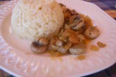 arroz blanco con champiñones