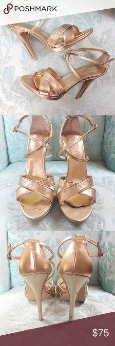 """Lilly Pulitzer Bella Gold Strappy Stiletto Sandals Lilly Pulitzer strappy gold """"Bella"""" heels in great condition! Worn once, added gold ball off foot inserts for comfort that are removable but may leave a mark. Two small scuffs on heel, but not noticeable unless scrutinizing- I didn't realize they were there until photographing. 4.5"""", .5"""" platform. These are so cute for everything summer! Lilly Pulitzer Shoes Heels"""