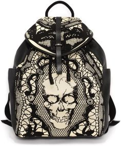 Alexander Mcqueen Skull Lace Print Backpack - WISH I COULD AFFORD THIS. NEED A SWELL BACKPACK SO BAD!
