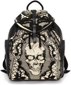 Alexander Mcqueen Skull Lace Print Backpack - dressmesweetiedarling