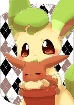 Extremely Cute Eevee and Leafeon #pokemonart