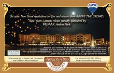 SOOO excited about this event!  New Year's Eve Lantern Release in Downtown Avalon Park
