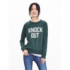 "Banana Republic Womens ""Knock Out"" Graphic Sweatshirt Size XXS Petite... ($45) ❤ liked on Polyvore featuring tops, hoodies, sweatshirts, crewneck sweatshirt, graphic crewneck sweatshirts, green top, petite long sleeve tops and petite tops"