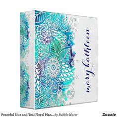 Peaceful Blue and Teal Floral Mandala Motif Binder