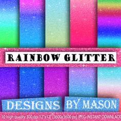 "Glitter Background Paper, Bright Digital Paper, 10 ""GLITTER PAPER POP"" , Glitter Paper, Digital Paper, Printable Paper, Bomb pop, color"