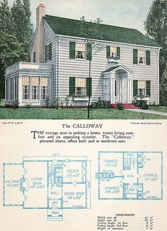 1928 Home Builders Catalog - The Calloway -- Colonial style Sims House Plans, Small House Plans, House Floor Plans, Style At Home, Casas The Sims 4, Sims House Design, Sims Building, Vintage House Plans, House Blueprints