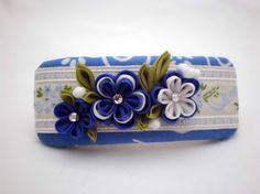 Handmade FRENCH BARRETTE Blue white flowers by JagataraArt on Etsy #hairbarrette #frenchbarrette #tsumamikanzashi