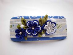 Handmade FRENCH BARRETTE Blue white flowers by JagataraArt on Etsy #redflowers #frenchbarrette #hairclip #tsumamikanzashi #mothersday #craftshout