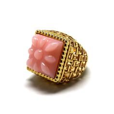 Pretty pink opal with street style edge. Basket-Weave ring in 14 karat yellow gold with a stunning carat pink opal and carats of baguette and square-cut citrines Pink Opal Ring, Blue Opal, Opal Rings, Pink Sapphire, Purple Jewelry, Opal Jewelry, Indian Jewelry, Jewelry For Her, High Jewelry