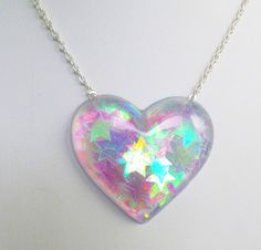 Holographic Iridescent Stars Heart Shaped Pendant Necklace Kawaii Kitsch Pastel Candy Rave Festival Summer Charm Carnival Kitsch Playful                                                                                                                                                                                 More