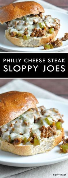 Sloppy Joes with a Philly Cheese Steak flair. Quick, easy, and delicious! These Easy Philly Cheese Steak Sloppy Joes are Sloppy Joes with a Philly Cheese Steak flair. Quick, easy, and delicious! Quesadillas, Food Dishes, Main Dishes, Good Food, Yummy Food, Tasty, Cooking Recipes, Healthy Recipes, Cheap Recipes
