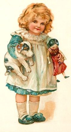 "Raphael Tuck Valentine Brundage ""Little Favorites"" Dog Doll Postcard"