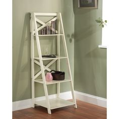Antique White 4-tiered X-Shelf Ladder Case | Overstock™ Shopping - Big Discounts on Office Storage & Organization