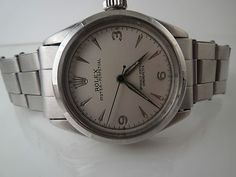 Genuine Rolex Bubbleback 6285 Stainless Mans Watch Running W/Riveted Rolex Band