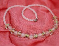 Colier Delicate Spring - lampwork roz-galben - 49 lei