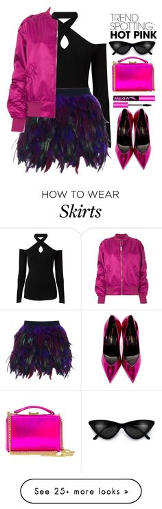 """Pink Lady"" by lilitha-thando on Polyvore featuring Witchery, WithChic, Yves Saint Laurent, Mark Cross, MISBHV, contestentry and NYFWHotPink"