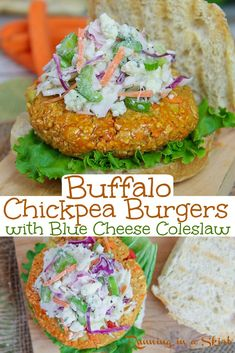 The Best Buffalo Chickpea Burger recipe with Blue Cheese Cole Slaw - Easy, healthy and simple homemade veggie patties. These spicy veggie burgers are perfect for a bbq.   Cooked stovetop or grilled.  Vegan option included in recipe. / Running in a Skirt #healthy #veggieburger #4thofjuly #buffalo #vegan #vegetarian Best Lunch Recipes, Burger Recipes, Vegetarian Recipes, Healthy Recipes, Vegan Vegetarian, Yummy Recipes, Veggie Patties, Veggie Burgers, Blue Cheese Coleslaw
