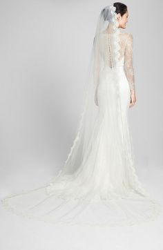 VEIL TRENDS Alençon Lace Cathedral Veil (Nordstrom Exclusive) available at #Nordstrom #VeilTrends