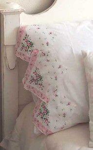 Sweet...simply sew hankies to the pillowcase for a darling old fashioned look