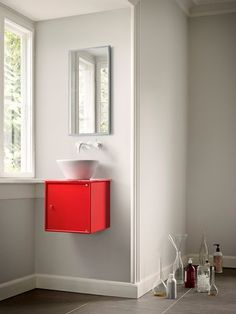 Montana Bathroom. If you have a small bathroom you will need a small sink. Montana fits in every bathroom, big spaces as well as small. #montanafurniture #montanadesign #bathroom #small #sink #red