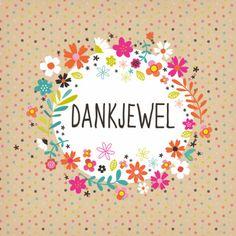 Een vrolijke 'dankjewel' kaart met stipjes en bloemen op een afbeelding van craft papier, verkrijgbaar bij #kaartje2go voor € 1,79