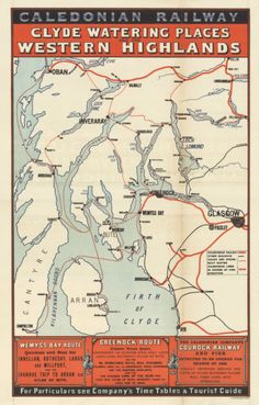 A striking poster for the Caledonian Railway company illustrates rail and steamer routes in the Clyde in Picture: National Library Scotland Railway Posters, Fantasy Island, Vintage Travel Posters, Post Office, New Books, Trains, Brave, Scotland, Advertising