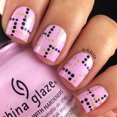 Geometric polka dot nails more opi nail polish colors, opi nails, matte nai Dot Nail Art, Polka Dot Nails, Pink Nails, Polka Dots, Leopard Nails, Nail Art Hacks, Easy Nail Art, Short Nail Manicure, Short Nails