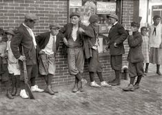 "VINTAGE STREET GANG FROM 1916 -- June 27, 1916. Springfield, Massachusetts. ""Street gang, corner Margaret and Water streets — 4:30 p.m."" Photograph by Lewis Wickes Hine."