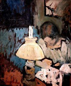 Jean Brusselmans (Belgium 1884-1953)Femme cousant sous la lampe. - Woman sewing under the lamp (1912)oil on canvasIxelles Musée des Beaux Arts, Belgium