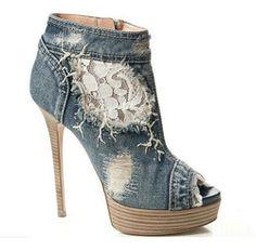 2012 Fashion Designer Women Individualistic Textile Jeans Lace High Heel Shoes - Buy Sexy Textile Jeans Shoes,Platform High Heel Shoes,Peep ...
