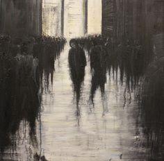 'Looking Back' (2013) by Zurich-based British artist Lesley Oldaker. Oil, 35.4 x 35.4 in. via Saatchi