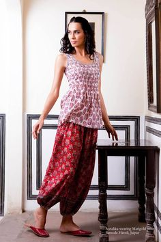 Perfect to wear at home.By Anokhi Casual Indian Fashion, Ethnic Fashion, Boho Fashion, Fashion Dresses, Arty Fashion, Western Dresses, Indian Dresses, Indian Attire, Indian Wear