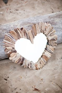 Miroir coeur bois flotté