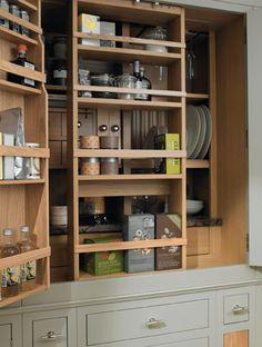 Kitchen pantry with sliding shelves Kitchen storage, pantry, larder, shelves, shaker style Corner Kitchen Pantry, Kitchen Pantry Storage Cabinet, Pantry Shelving, Kitchen Shelves, Cupboards, Big Kitchen, Kitchen Wood, Kitchen Reno, Kitchen Layout