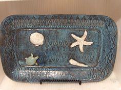 Pottery Stoneware Handmade Tray Nautical by PotteryLaceNautical
