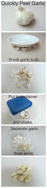 How To Peel Garlic The Easy Way.   Where has this tip been all my life!  No special tools and saves so much time!   I love it!