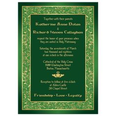 Celtic Wedding Invitation | Green, Gold Claddagh
