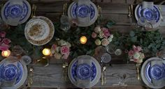 FRENCH COUNTRY COTTAGE: All in the details~ Rustic Blue & White Table Setting