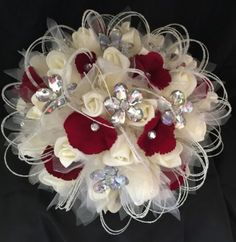 Ivory-Cream-Roses-Red-Petals-Flower-Brooch-Brides-Bridesmaids-Wedding-Bouquet