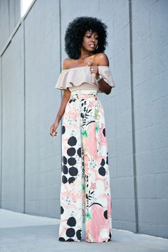 Style Pantry | Frill Off Shoulder Blouse + High Waist Printed Pants